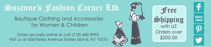 Suzanne's Fashion Corner : Boutique Infant Dresses, Baby Layette, Boys Sets & Suits, Girls Christening Gowns, Ladies Pants Sets, Special Occasion Dresses, Evening Bags, Clutches, Lingerie