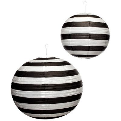 Black and White Striped Lanterns for a Wedding, Halloween, etc