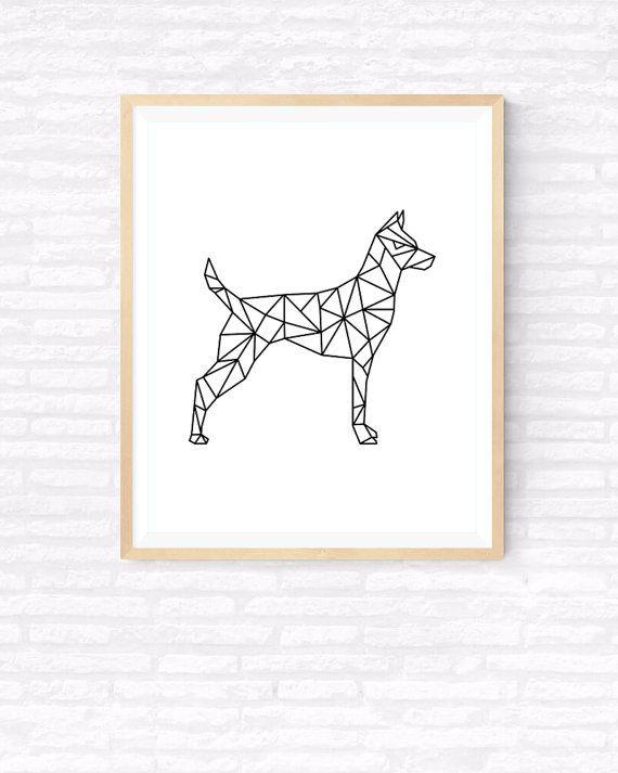 Origami kunst geometrische hond afdrukbare door GabrielPrintables