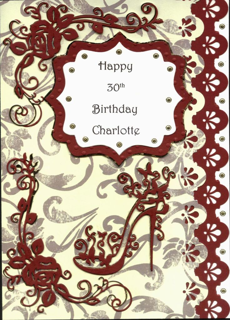 Tattered Lace Shoe and Rose 30th Birthday Card Cream Burgundy and Gold