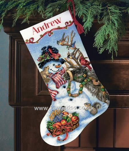 Buy Snowmen Gathering Stocking Cross Stitch Kit Online at www.sewandso.co.uk