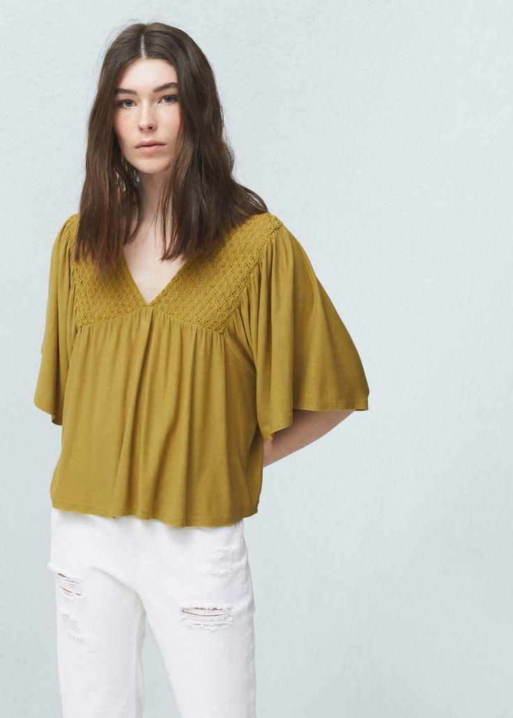 Openwork panel blouse - Shirts for Women   MANGO USA