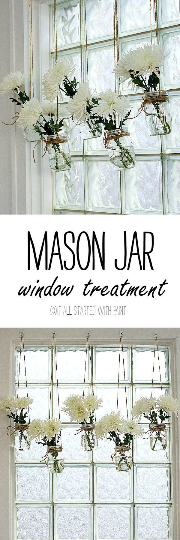 cool mason jar window treatment - It All Started With Paint by http://www.best-100-home-decorpictures.us/decorating-ideas/mason-jar-window-treatment-it-all-started-with-paint/