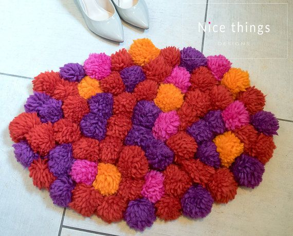 POM POM RUG- Woolen handmade modern pom pom rug/red rug/oval shape rug