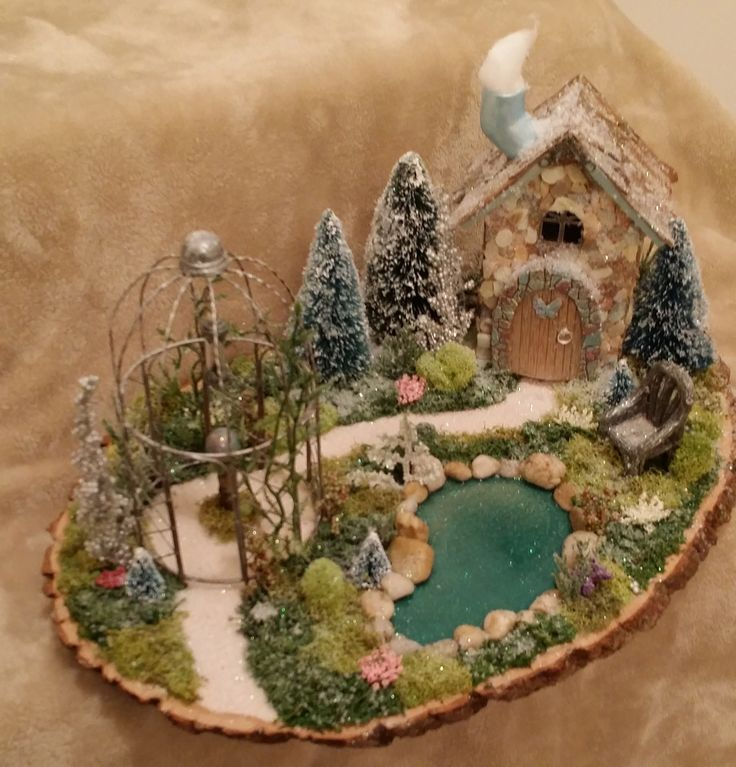 Winter Fairy Garden, Christmas Fairy Garden, Cardinal on the Mantel