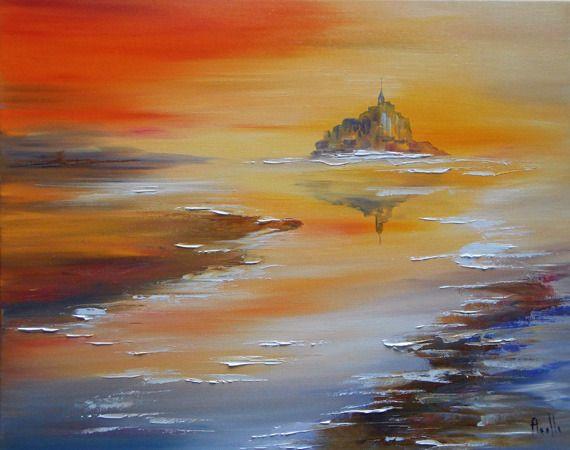 """Tableau paysage """"Mont St Michel"""" - peintures-axelle-bosler : Peintures par peintures-axelle-bosler"""