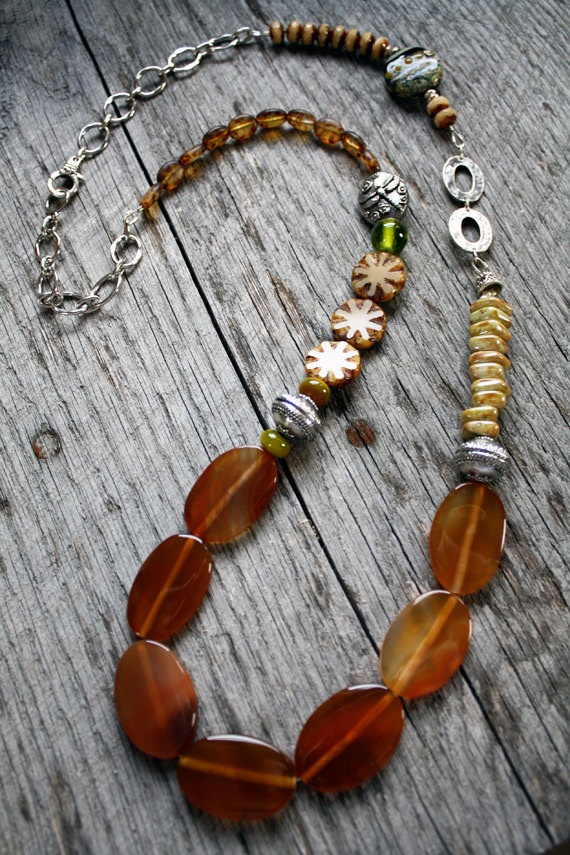 On the Trail Necklace - Long Beaded Statement Brown Green Handmade Pewter Glass