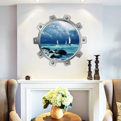 Just US$3.14 + free shipping, buy 3D Submarine Maritime City Wall Sticker online shopping at GearBest.com.