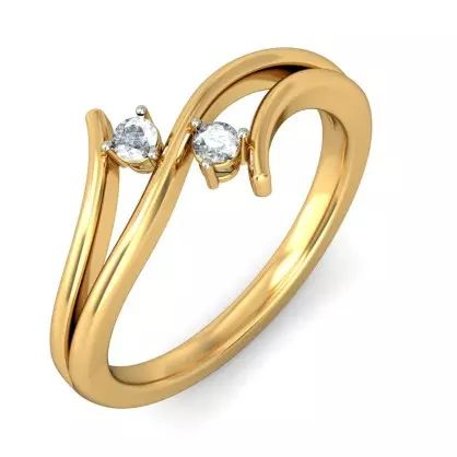 Diamond Ring In 18Kt Yellow Gold (2.396 gms) with Diamonds (0.0640 Ct)
