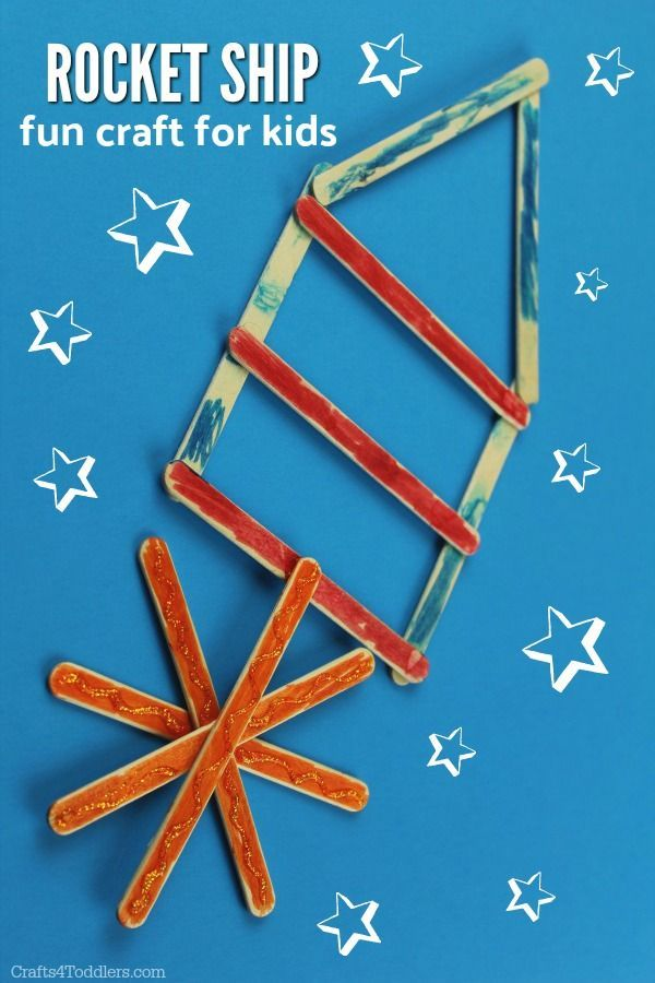 This Popsicle Stick Rocket Ship Craft For Kids Is So Easy And Fun