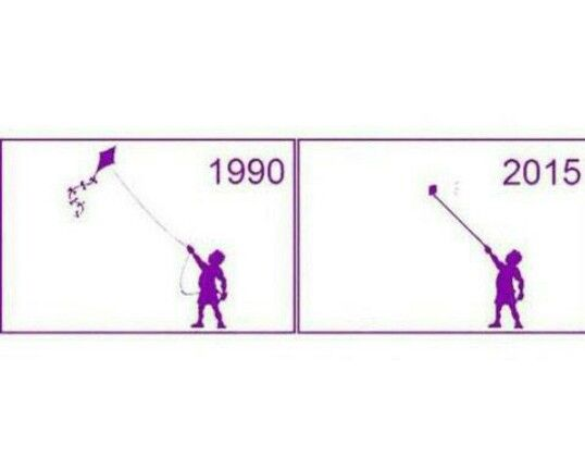 1990 kids playing outdoors with kites. 2015 kids posing indoors with a mobile phone on a 'selfie' stick.