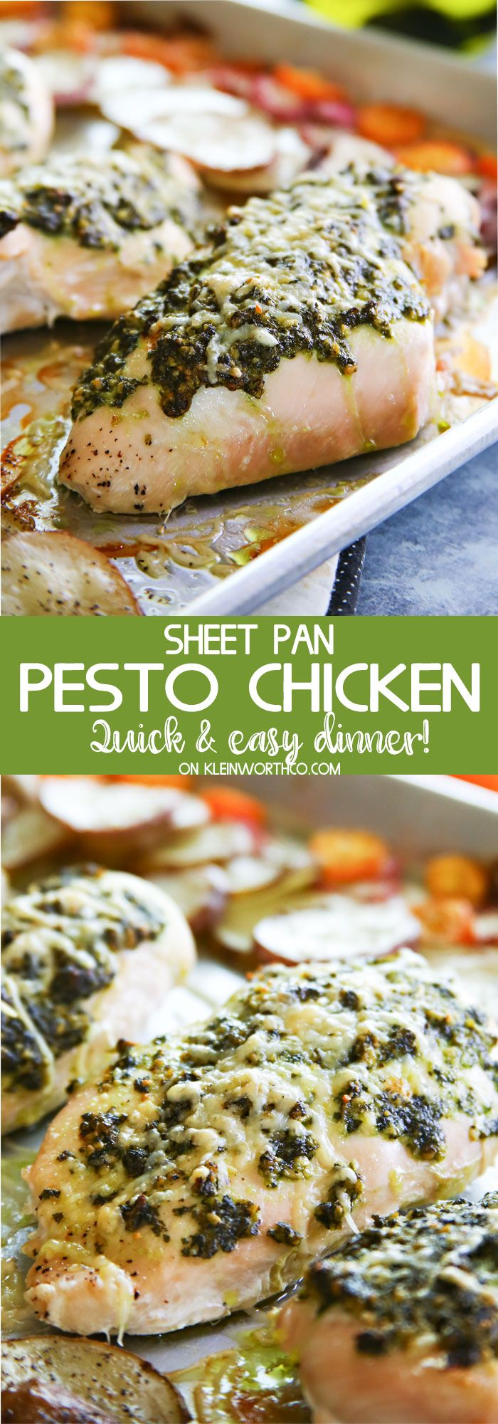 Sheet Pan Pesto Chicken Dinner is a healthier supper recipe the whole family will love. Delicious baked chicken & roasted radishes, kumquats & potatoes-YUM! via @KleinworthCo