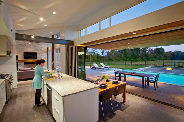 accordion glass doors Kitchen Modern with aquatic beam beautiful pools clerestory windows covered