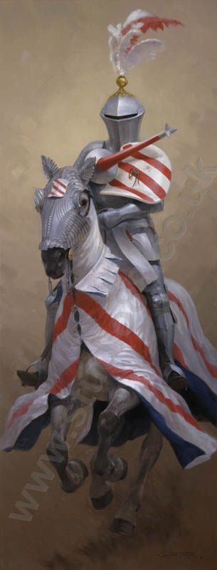 oil paintings of jousters | Jousting knight in armour on his horse - medieval art print by Graham ...