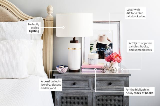 Lamp? Check. Tray? Check: Get your bedroom in tip-top shape, starting with a perfectly (and easily) styled nightstand.