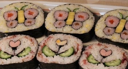 Butterfly and flower sushi
