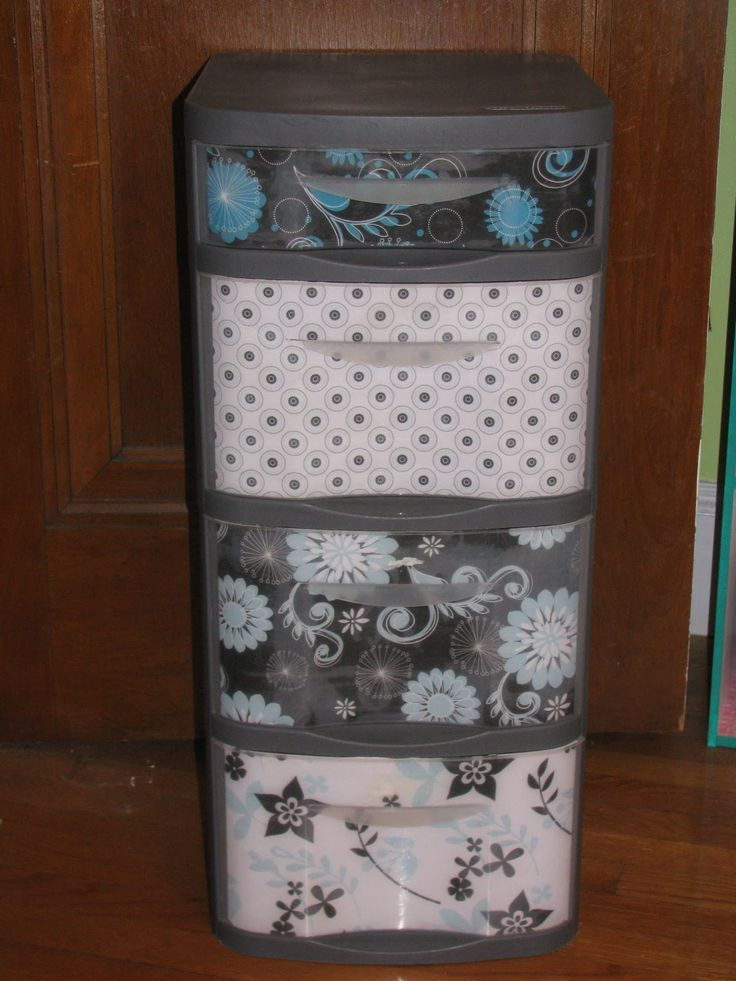 Why haven't I done this with my ugly plastic drawers? So easy!Plastic Storage, Good Ideas, Drawers Redo, Cute Ideas, Crafts Room, Scrapbook Paper, Storage Bins, Plastic Drawers, Ugly Plastic