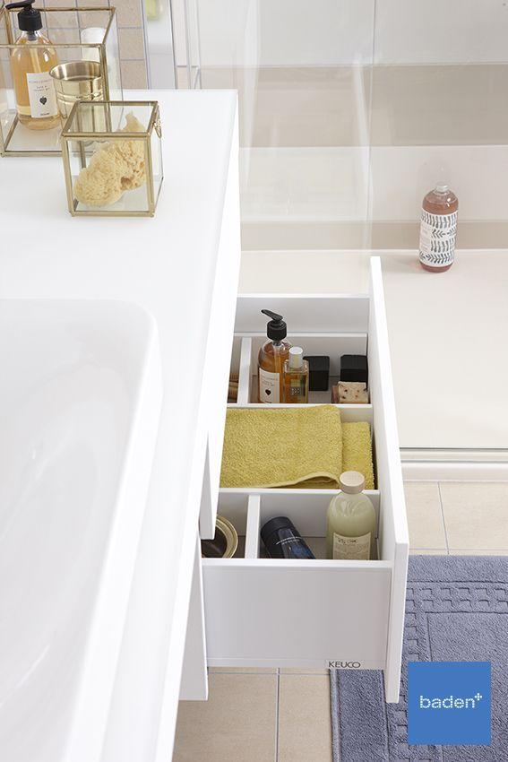 Keuco badkamermeubel voor comfort en gemak in uw badkamer. Met een reuze handige lade indeling voor al uw spulletjes.