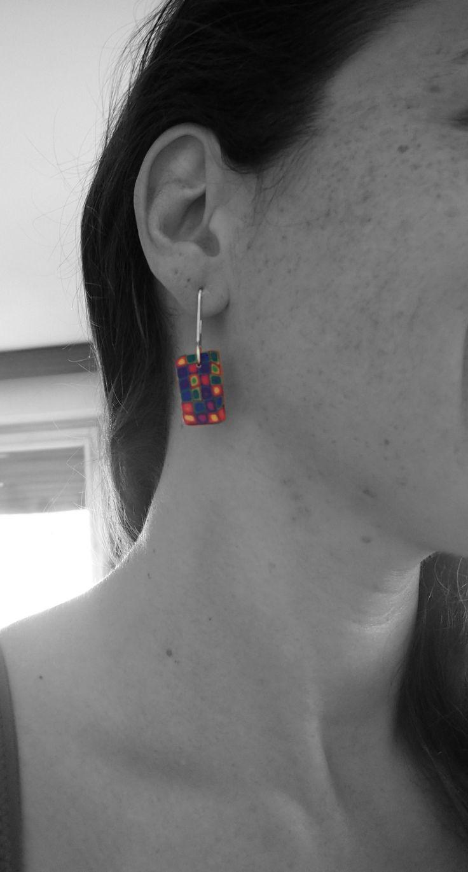 polymer clay multicolor pattern earrings by LaSolis  follow me on Facebook: www.facebook.com/handmadebylasolis