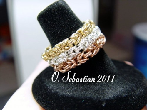 Tri-Color Byzantine Micro-Maille band rings (O Sebastian)