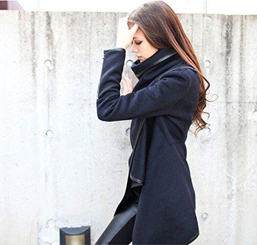Trench Manteau Asymétrique Elégant Chic Unique Cool à la Mode en Couleur Pure d'Ourlet Irrégulier au Col Debout en Laine Street-Style