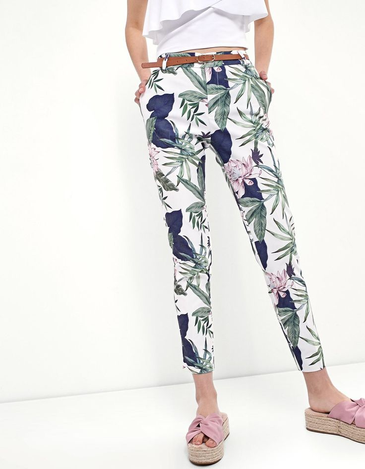 Tropical print trousers - Trousers | Stradivarius Hungary