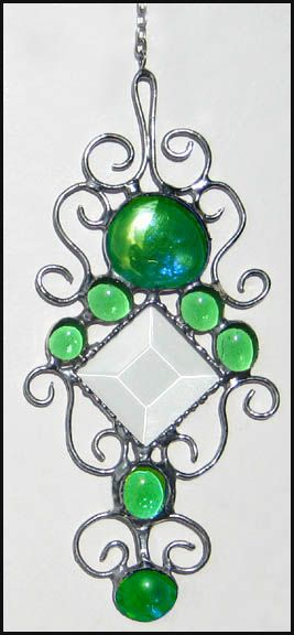 """Filigree Stained Glass Suncatcher with Bevel & Green Glass Nuggets - 4 1/2 x 8"""" - $16.95 - Handcrafted Stained Glass Designs * More at www.AccentOnGlass.com"""