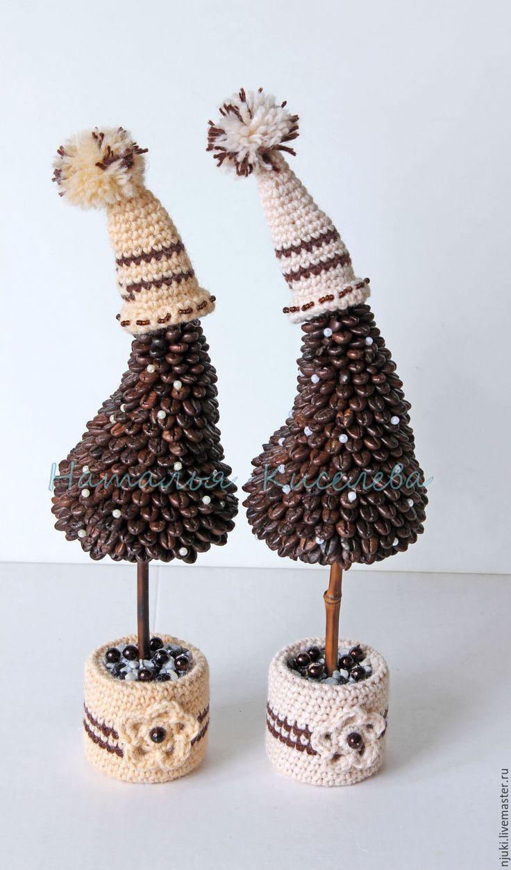 Купить Елочки кофейные в шапочках - коричневый, елка новогодняя, елки, кофейные елки