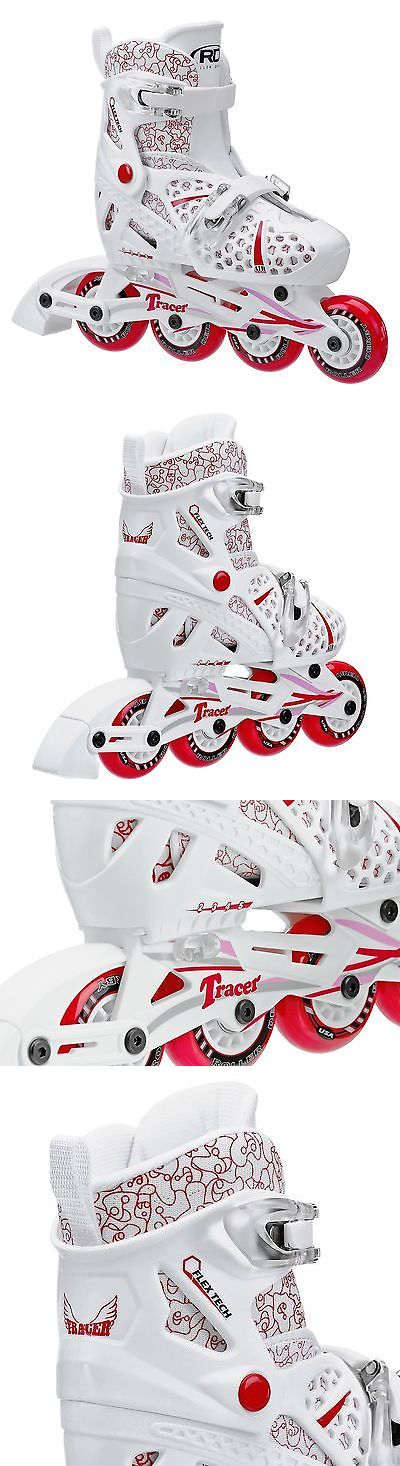 Youth 47345: Roller Derby Girls Tracer Adjustable Inline Skate White/Red New -> BUY IT NOW ONLY: $33.11 on eBay!