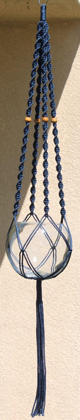 HELIX azul hecho a mano Macrame suspensión de la planta por ChironCreations: