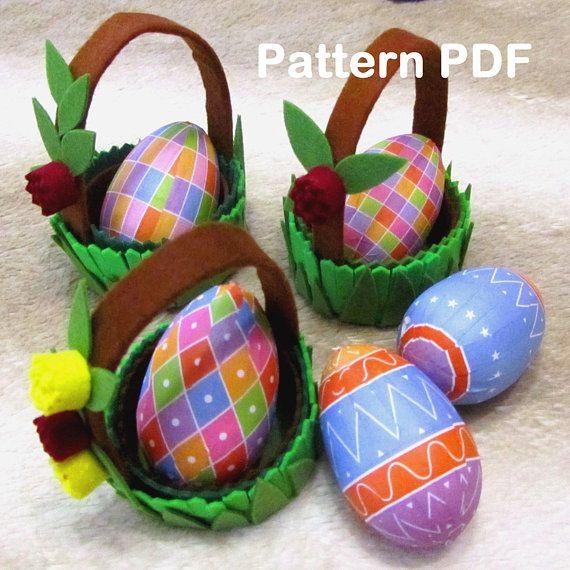 Easter basket, Easter decor, Easter egg, easter basket felt, basket felt, instructions, pattern of PDF