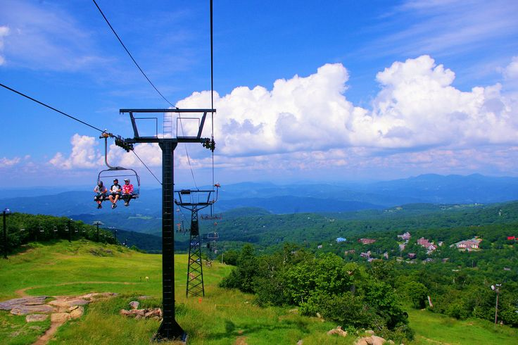 Scenic chairlift on Beech Mountain, North Carolina, with spectacular mountain views
