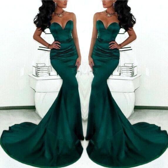 091cc37eb47 Sirène Sexy vert foncé robes de soirée 2015 Simple Style chérie Satin robe  de bal formelle ...