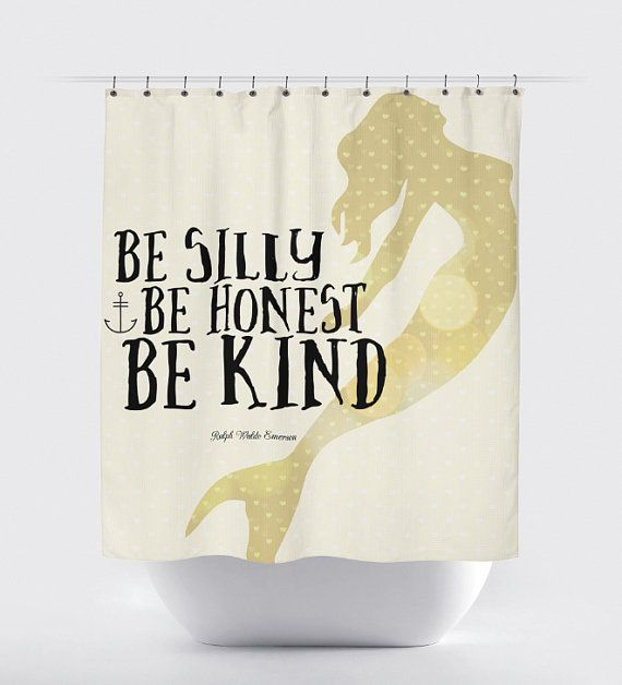 Mermaid Anchor Shower Curtain: Be Silly Be Honest Be Kind 12 Hole Fabric Bathroom Decor Any Size Available