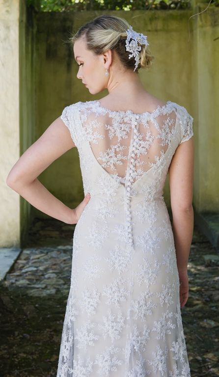 Beaded lace dress with nude slip (back)