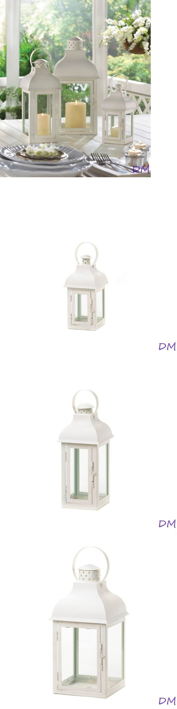 Candle Holders and Accessories 16102: Set Of 3 Elegant Soft White Gable Candle Lanterns Centerpieces W Doom Roof -> BUY IT NOW ONLY: $59.95 on eBay!