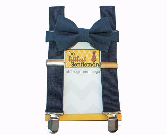 kids navy suspenders with chevron bow tie | Baby Toddler Boys Navy Suspenders and Navy Blue Bow Tie, Ringbearer ...