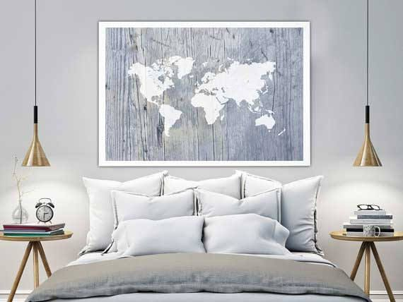 Large world map poster, world map print, map wall art, nautical world map, canvas wall art, world map art, wall decor, map of the world, by Ikonolexi on Etsy