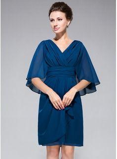 Sheath/Column V-neck Knee-Length Chiffon Mother of the Bride Dress With Ruffle (008042323) - JJsHouse