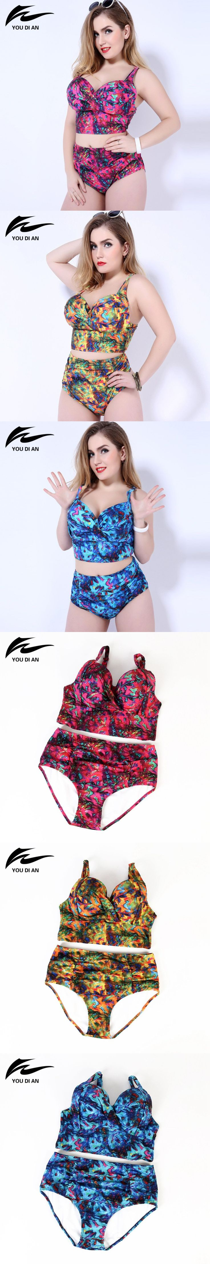 Big bust high waist printed bikinis 2016 women plus size swimwear Women Swimsuit push up Biquini Brazilian Bikini bathing suit $23.9