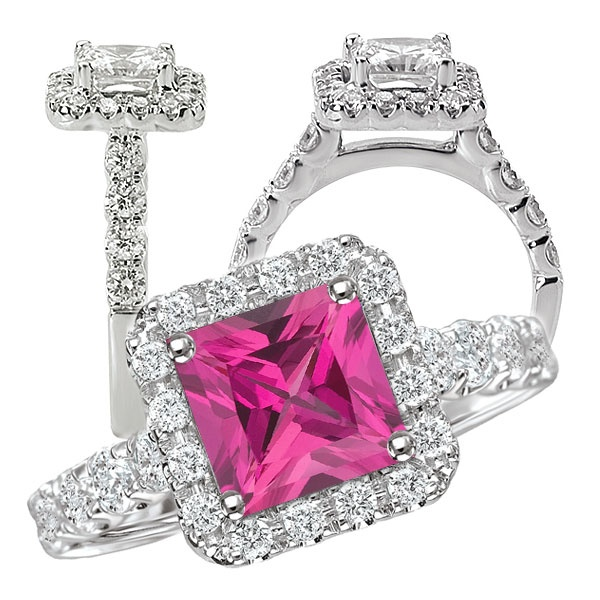 18k lab-grown 6mm princess cut pink sapphire engagement ring with natural diamond halo