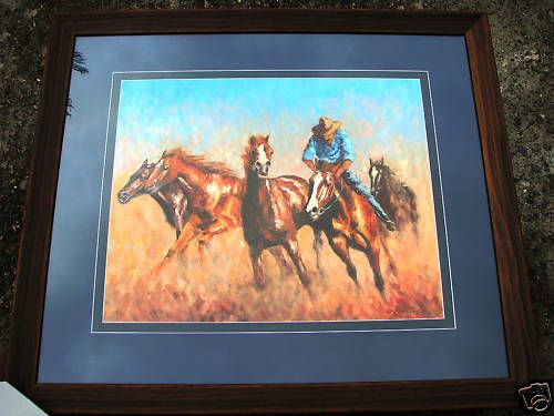 Craig Taylor Original Oil titled  Rounding up the Strays   Australian West