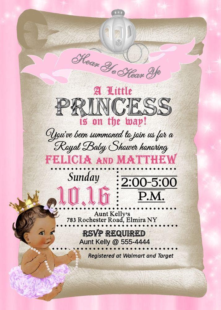 Princess Baby Shower Invitations Princess Shower SKIN TONE U0026 TUTU CAN BE  CHANGED
