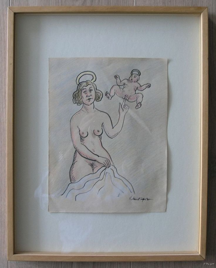 Roland Topor, Fluxus # ANGEL # original ink drawing/gouache