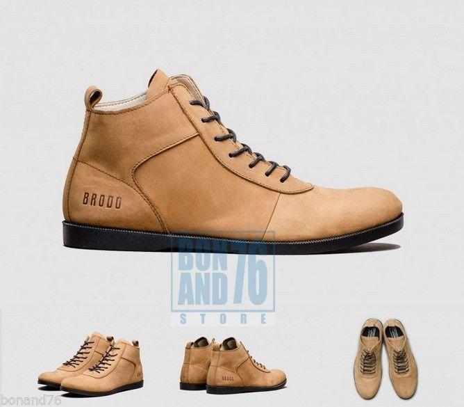 Casual Boots for Men Nappa Leather Ventura Tan Black Sole (Size 10.5) #Brodo #BoatShoes
