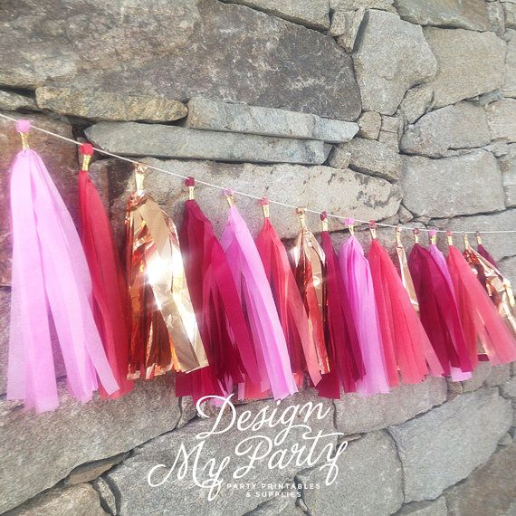 Rose Gold Pink Passion Glam Tassel Garland by DesignMyPartyShop