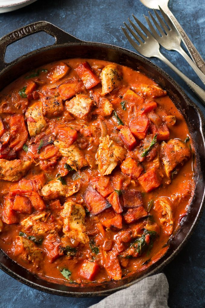 Creamy Paleo tomato basil chicken with roasted butternut squash that's ready fast and great for leftovers! Whole30 compliant.