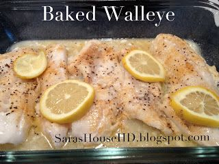 Baked or Grilled Walleye Ingredients: 6 fillets of walleye  Non-stick cooking spray Garlic salt Seasoning salt Pepper  350 degree oven; spray non-stick cooking spray onto a glass pan. Place the fish into the pan. Add garlic salt, seasoning salt, pepper to taste. Cut a lemon in half, squeezing 1/2 over fish, slicing 1/2 for garnish. Place in the oven apx. 20 minutes.  (This will vary depending on the thickness of the fish).  Fish should be cooked to 145 degrees, and flaky.