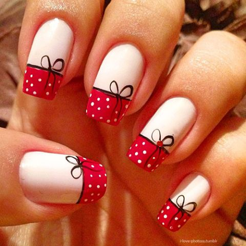 #nails #french #tips #art #white #red #polka #dots #black #ribbon #bow