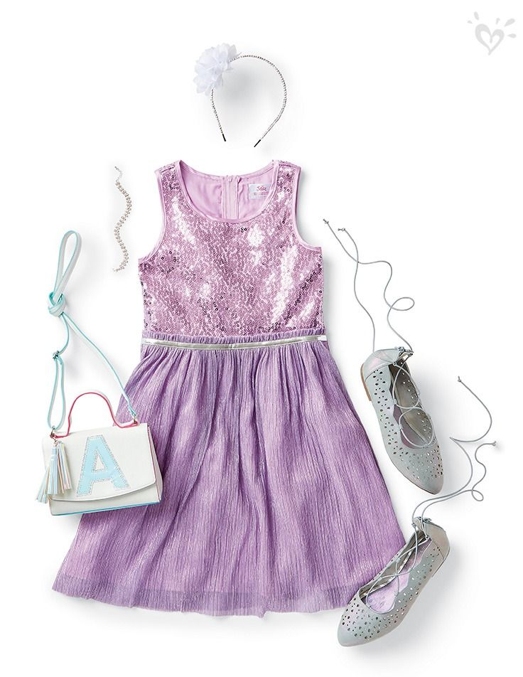Pretty in purple. Just add lace-up flats and a purse-onalized crossbody!